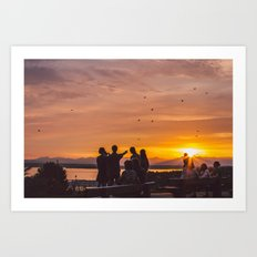Sunset in Seattle Art Print