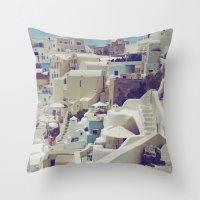 Streets of Santorini II Throw Pillow