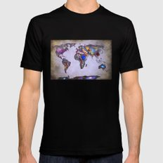 Stars world map. Space. SMALL Mens Fitted Tee Black