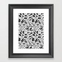 B&w Flora Pattern Framed Art Print