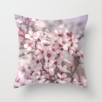 Icy Pink Blossoms - In M… Throw Pillow