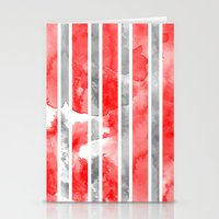Watercolour Stripe - Red Stationery Cards