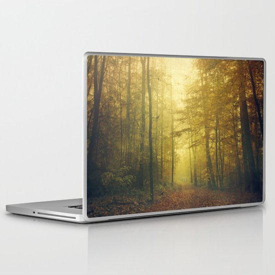 fall morning forest Laptop & iPad Skin