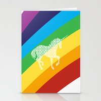 Unicorn on rainbow art Stationery Cards