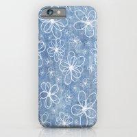Doodle Flowers Blue iPhone 6 Slim Case