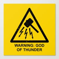 Warning: God Of Thunder Canvas Print