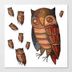 9 Owls Canvas Print