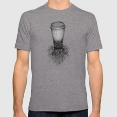 Coffee Mens Fitted Tee Tri-Grey SMALL