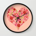 Valentines - Floral Heart Wall Clock