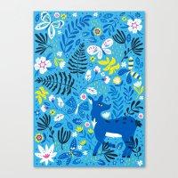 Deer And Butterflies (Sk… Canvas Print