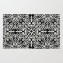 Black & White Folk Art Pattern Rug