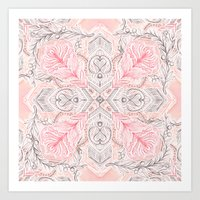 Peaches and Cream Doodle Tile Pattern Art Print