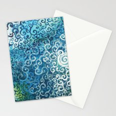 Swirly Deep Blue Sea Stationery Cards