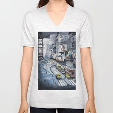 Time square - New York City - Illustration watercolor painting Unisex V-Neck