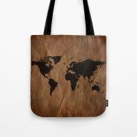 Old Wrinkled World Map Tote Bag