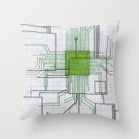 Circuit Board Green Throw Pillow