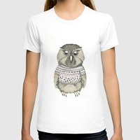 cute owl Womens Fitted Tee White SMALL