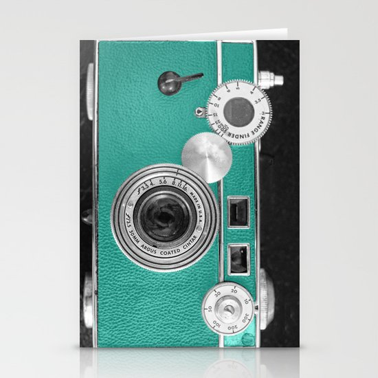 Teal retro vintage phone Stationery Card
