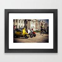 Vespa Scooters in Greenwich Framed Art Print