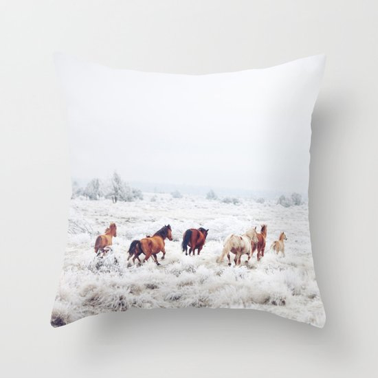 Winter Horses Throw Pillow