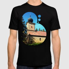 Maria Rast Forest Chapel… Mens Fitted Tee Black SMALL