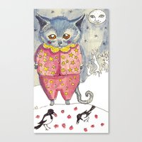 Canvas Print featuring Moon Cat by Katie O'Hagan