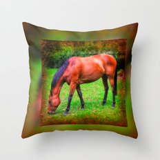 Brown horse grazing Throw Pillow