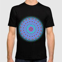 Psychedelic mandala Mens Fitted Tee Black SMALL