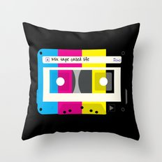 CMYK Mix tape called life Throw Pillow