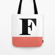 Monogram Letter F-Pantone-Peach Echo Tote Bag
