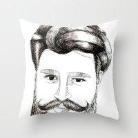 LOVELY BEARD Throw Pillow