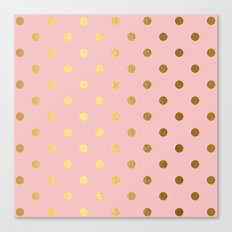 Golden Polka Dots On Ros… Canvas Print