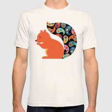 Paisley Squirrel Mens Fitted Tee Natural SMALL