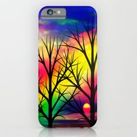 iPhone Cases featuring rainbow sunset by haroulita