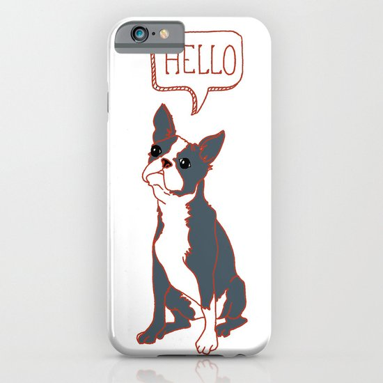 Boston Terrier, Hello, Red, Black, Grey iPhone & iPod Case