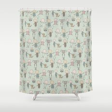 Children Playing-on Mint Shower Curtain