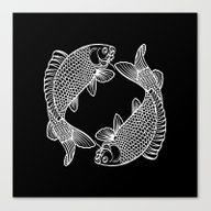 Black White Koi Canvas Print