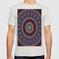 Peacock Pinwheel Mens Fitted Tee Silver SMALL