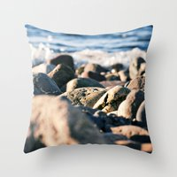 Rocky Ocean Beach Throw Pillow
