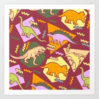 Nineties Dinosaur Pattern version 2. Art Print
