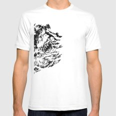 Dark Water White Mens Fitted Tee SMALL