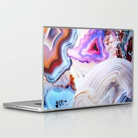 nature Laptop & iPad Skins featuring Agate, a vivid Metamorphic rock on Fire by Elena Kulikova