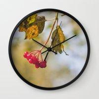 Berry Bokeh Fine Art Photographic Winter Print  Wall Clock