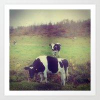 Rustic Cows Art Print