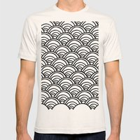 Waves All Over - Black and White Mens Fitted Tee Natural SMALL