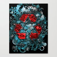 Recycle World - Blue Canvas Print