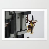 Lego Indian climbing Art Print