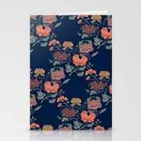 Floral grid pattern Stationery Cards