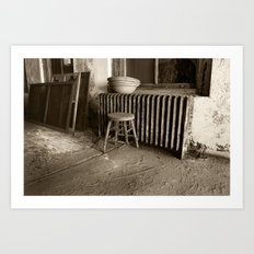 Broken stool on Ellis Island Art Print