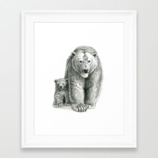 Polar bear and cub SK041 Framed Art Print